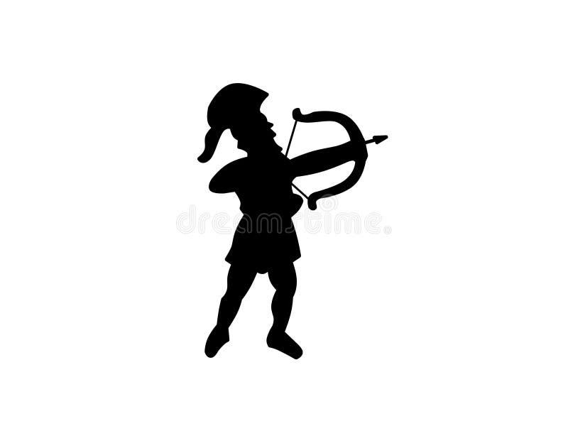 Silueta Cretan antigua del arquero ilustración del vector
