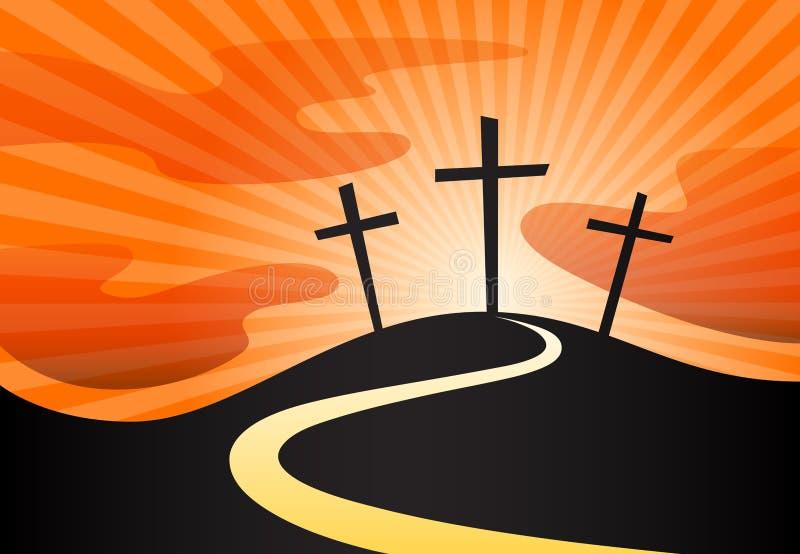 Silueta cristiana del crucifijo del símbolo cruzado en la colina con rayos solares stock de ilustración