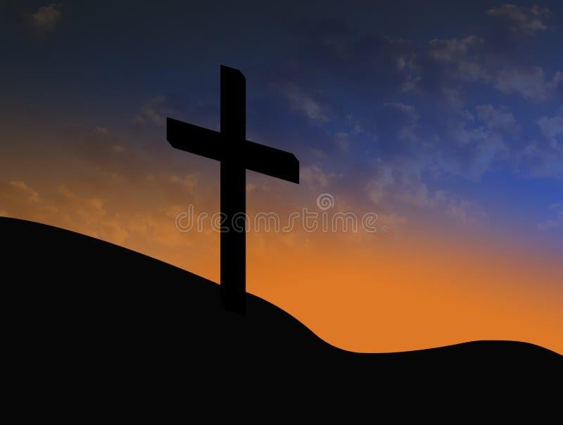 Silueta cruzada con salida del sol y el símbolo cristiano de las nubes de la resurrección stock de ilustración