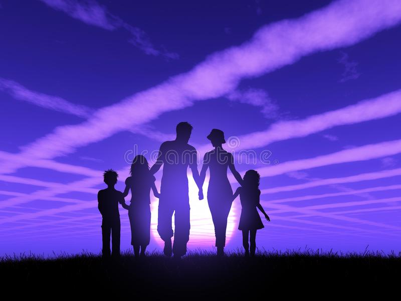 silueta 3D de una familia que camina contra un cielo de la puesta del sol libre illustration
