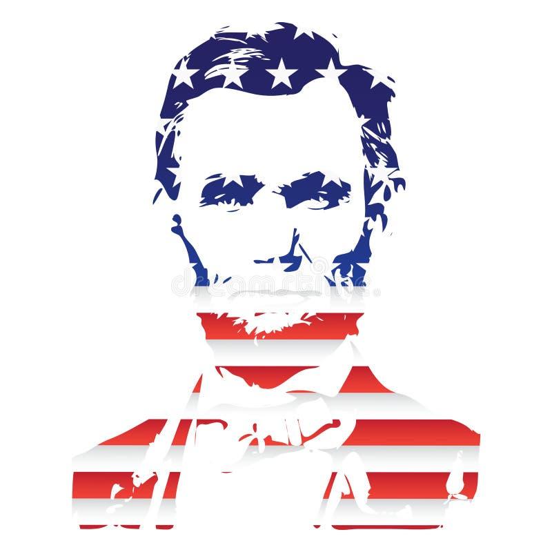 Silueta de Abraham Lincoln From la textura de la bandera nacional de los Estados Unidos stock de ilustración