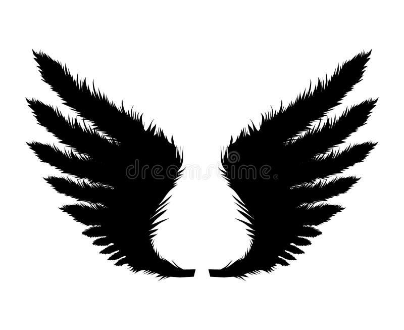 Silueta de alas negras Ilustración del vector stock de ilustración