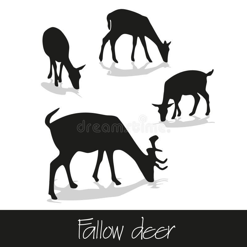 Silueta de alimentación de los ciervos en barbecho de los iconos animales stock de ilustración