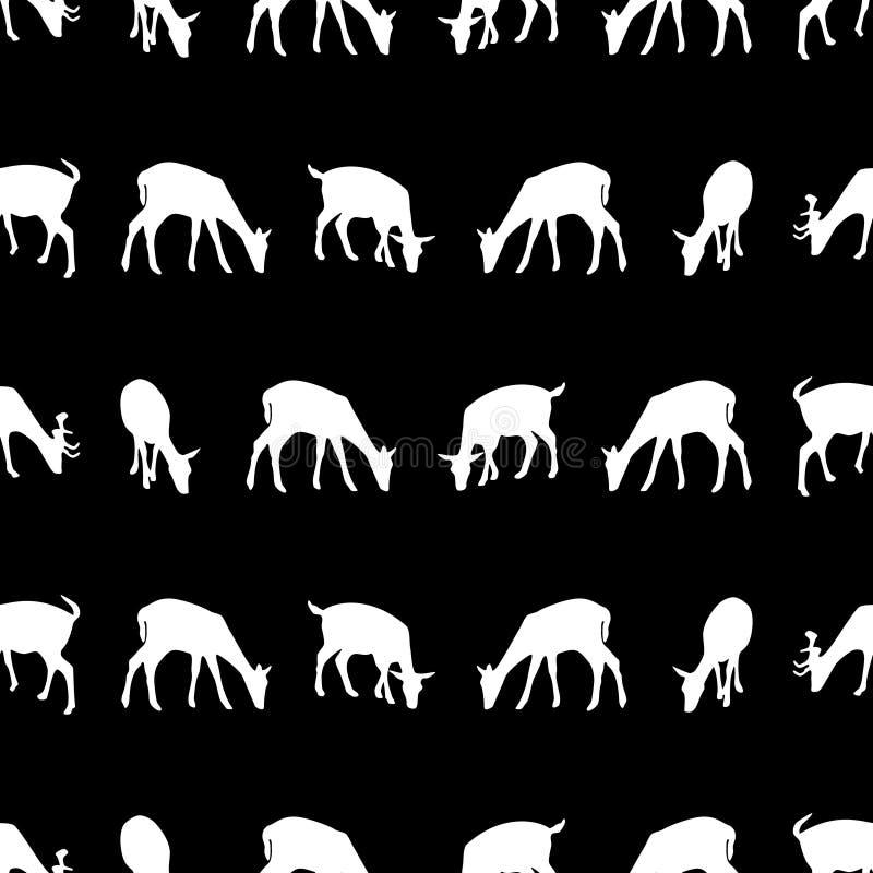 Silueta de alimentación de los ciervos en barbecho del modelo inconsútil oscuro animal eps10 stock de ilustración