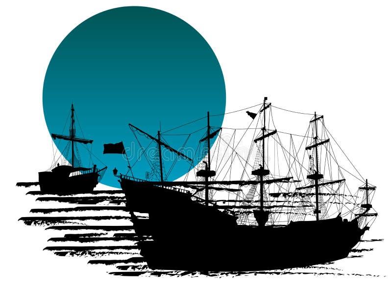 Silueta de barcos piratas ilustración del vector. Ilustración de ...