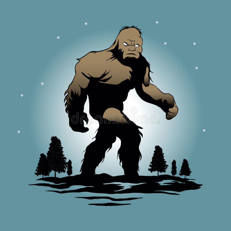 Silueta de Bigfoot stock de ilustración