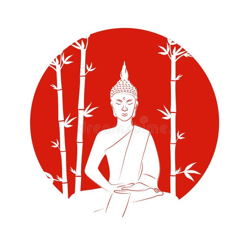 Silueta de Buda que se sienta en actitud del loto en un fondo rojo con el bambú stock de ilustración