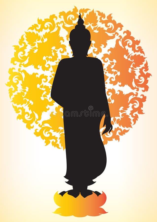 Silueta de Buddha stock de ilustración