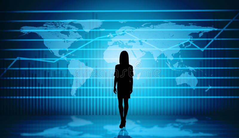 Silueta de Businesswomans con el mapa virtual stock de ilustración