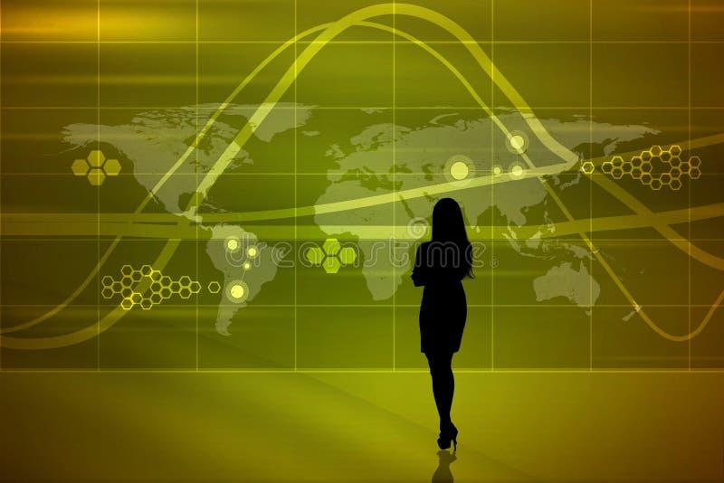 Silueta de Businesswomans con las ondas ilustración del vector