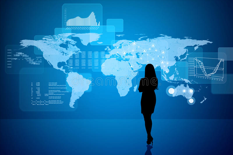 Silueta de Businesswomans con números libre illustration