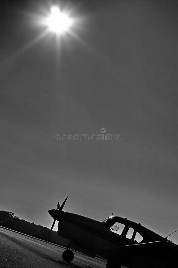 Silueta de Cessna fotografía de archivo