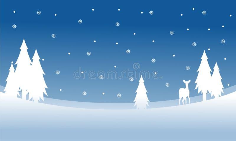 Silueta de ciervos en la Navidad del invierno de la colina ilustración del vector