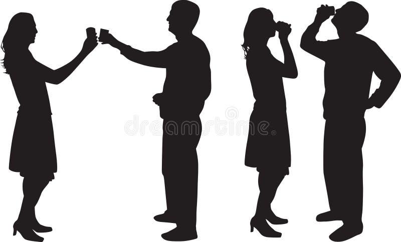 Silueta de consumición del hombre y de la mujer   libre illustration