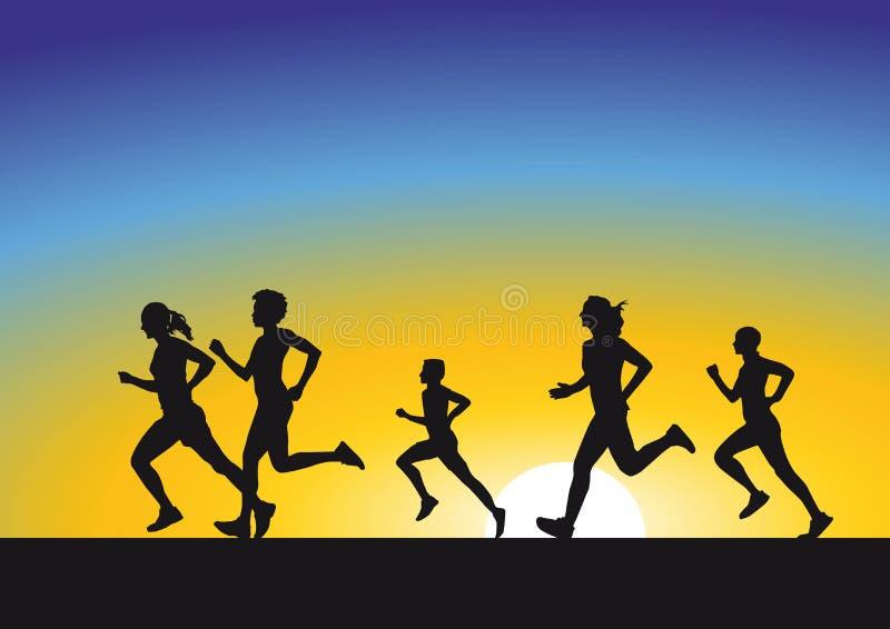 Silueta de corredores en la salida del sol stock de ilustración
