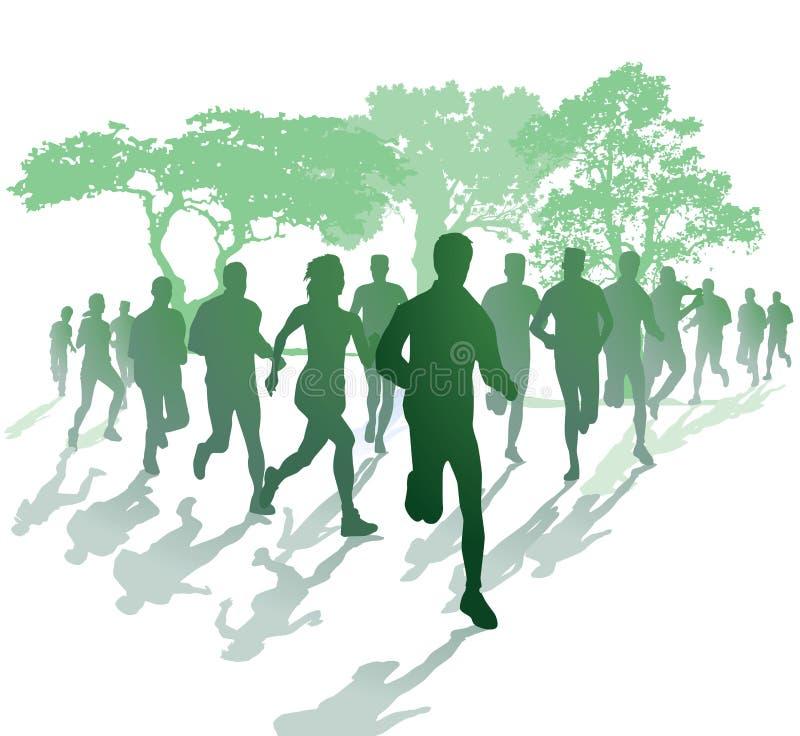 Silueta de corredores en un parque ilustración del vector