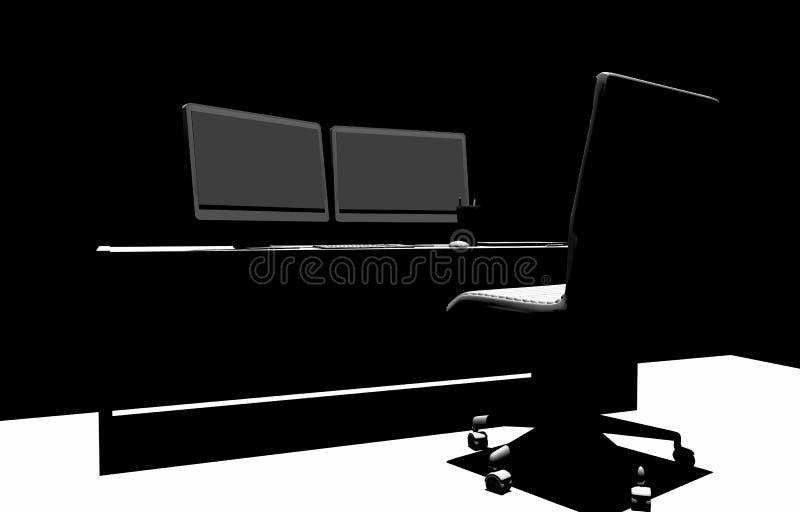 Silueta de Desk 3D del diseñador ilustración del vector