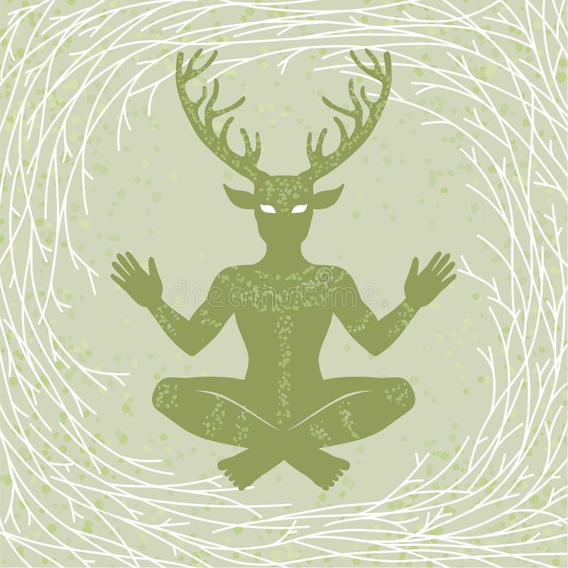 Silueta de dios de cuernos Cernunnos de la sentada Misticismo, esotérico, paganismo, ocultismo stock de ilustración