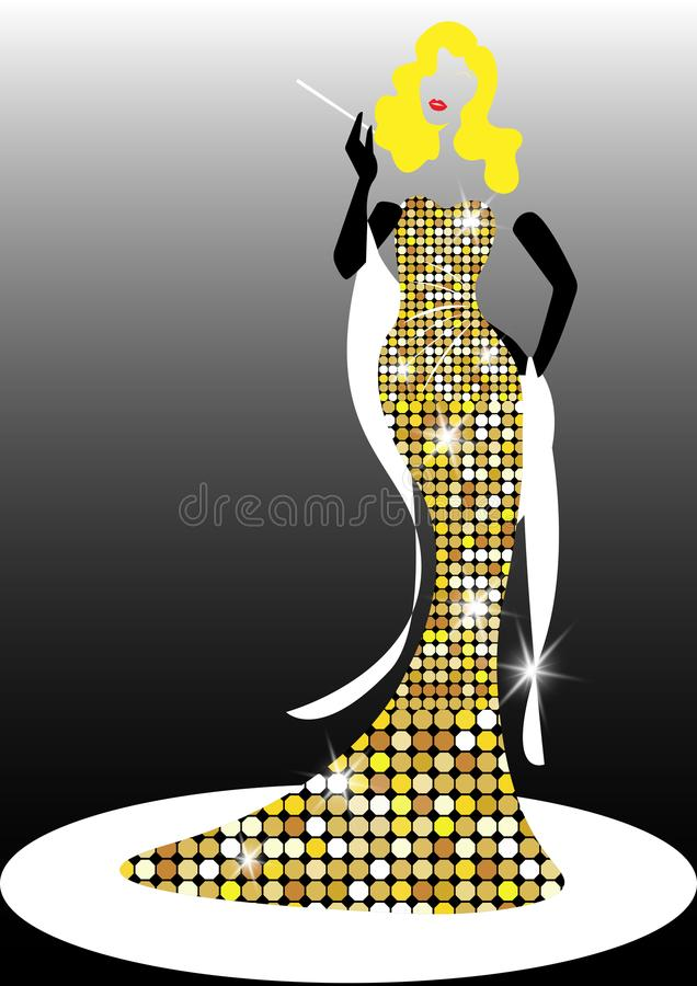 Silueta de Diva Hollywood, mujer rubia de la moda retra hermosa, diseñando y los años 50 de los años 40 del vestido de noche, libre illustration
