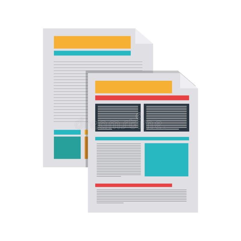 Silueta de documentos con el texto y los gráficos ilustración del vector