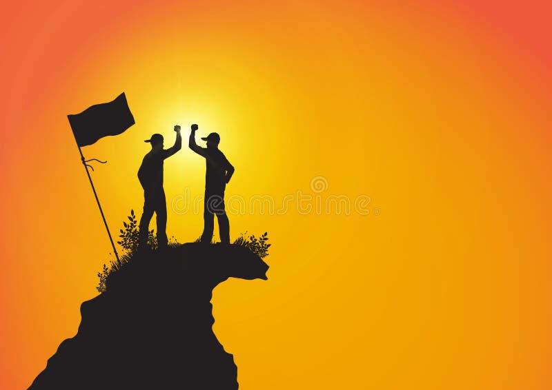 Silueta de dos hombres encima de la montaña con el puño aumentado para arriba con la bandera, el éxito, el logro y el concepto qu ilustración del vector