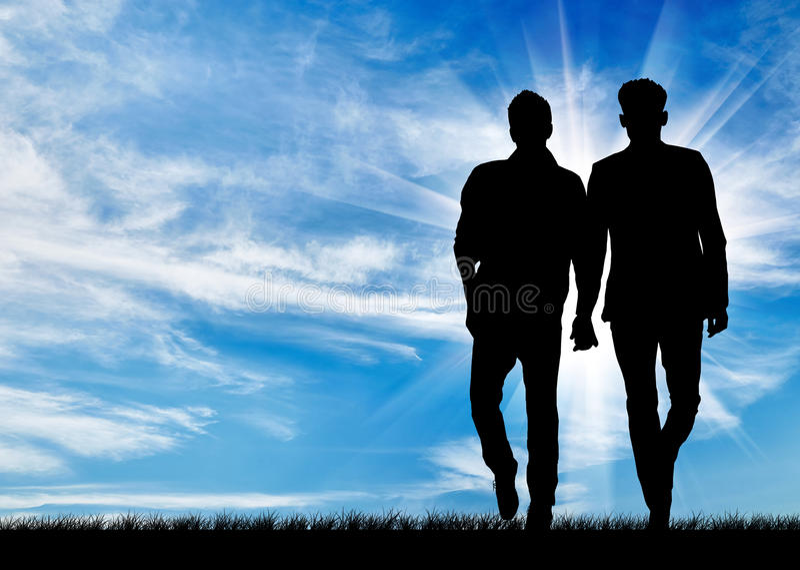 Silueta de dos hombres gay foto de archivo