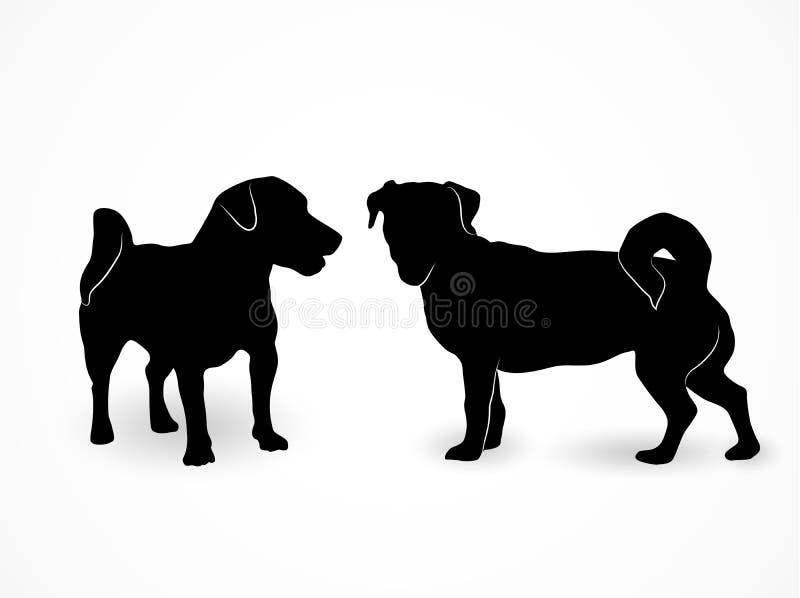 Silueta de dos pequeños perros derechos Jack Russell Terrier Un frente y una vista lateral de los animales domésticos en el fondo stock de ilustración