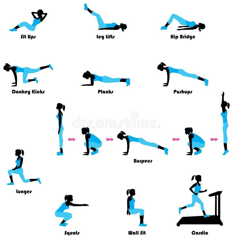 Silueta de ejercicio femenina Guarde el ejercicio apto stock de ilustración