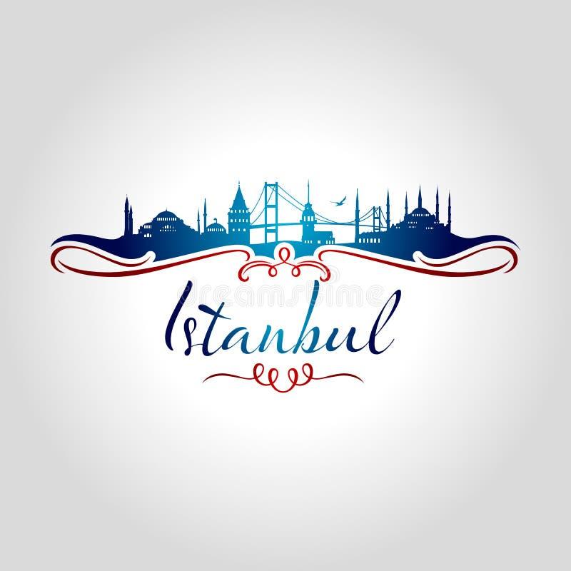 Silueta de Estambul stock de ilustración