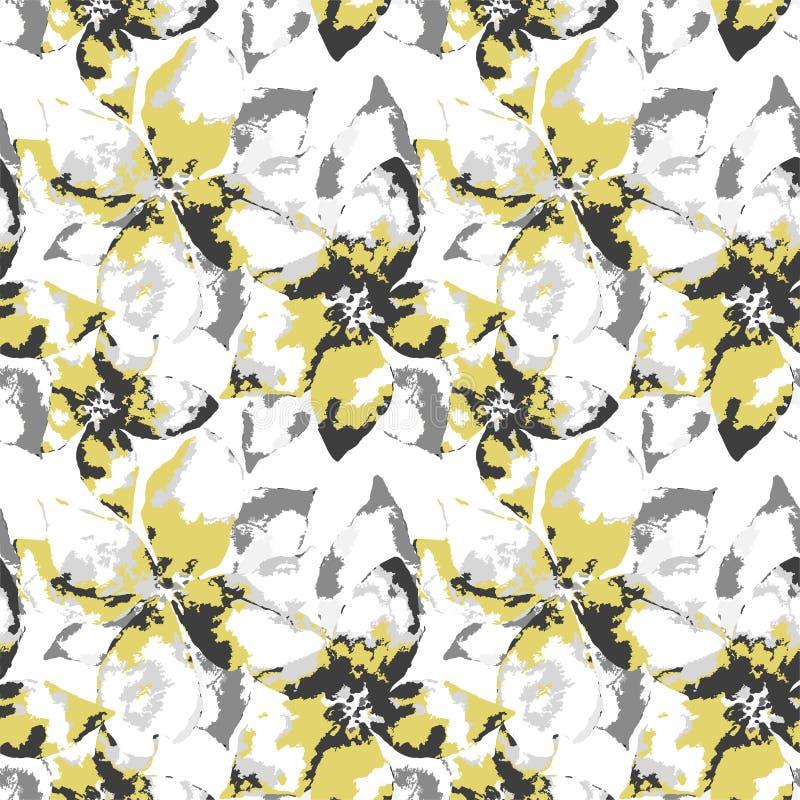 Silueta de flores con las hojas en el fondo blanco ilustración del vector