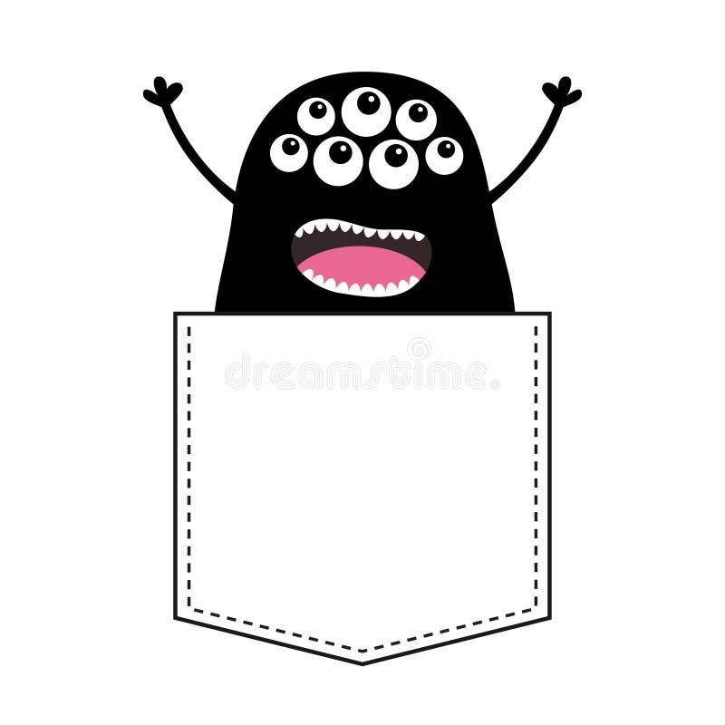 Silueta de griterío negra del monstruo en el bolsillo Manos para arriba Carácter divertido asustadizo de la historieta linda Cole libre illustration