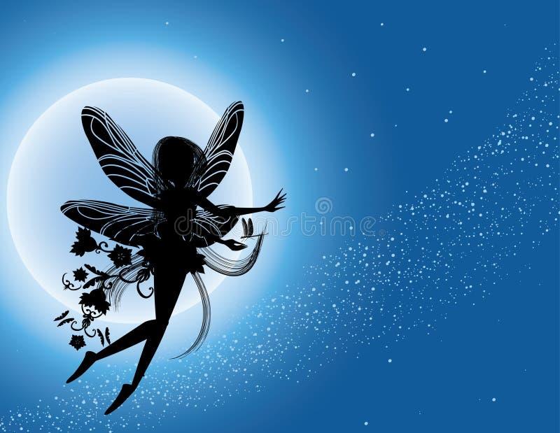 Silueta de hadas del vuelo en cielo nocturno ilustración del vector