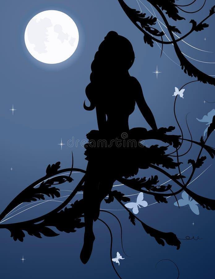 Silueta de hadas en cielo nocturno stock de ilustración