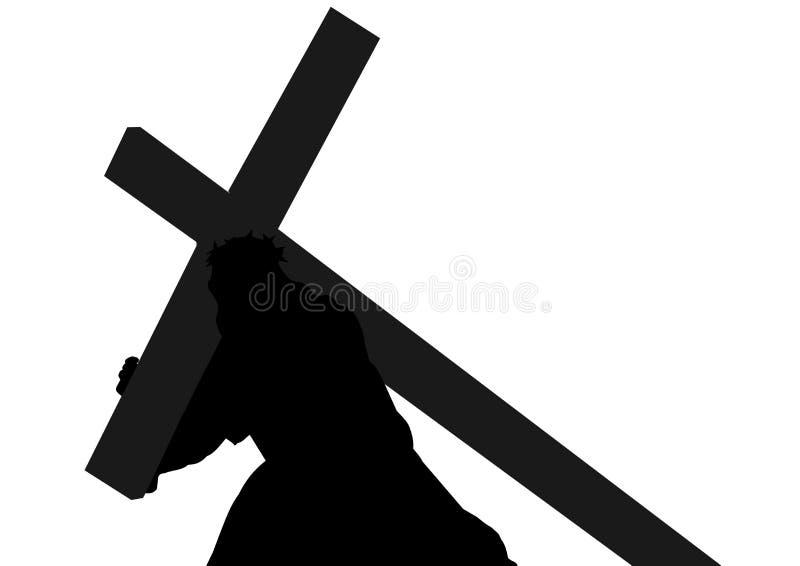 Silueta de Jesus Christ que lleva la cruz imágenes de archivo libres de regalías