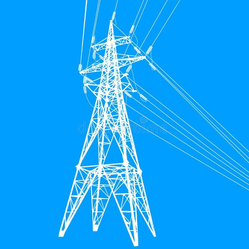 Silueta de líneas eléctricas de alto voltaje en el ejemplo azul del fondo stock de ilustración