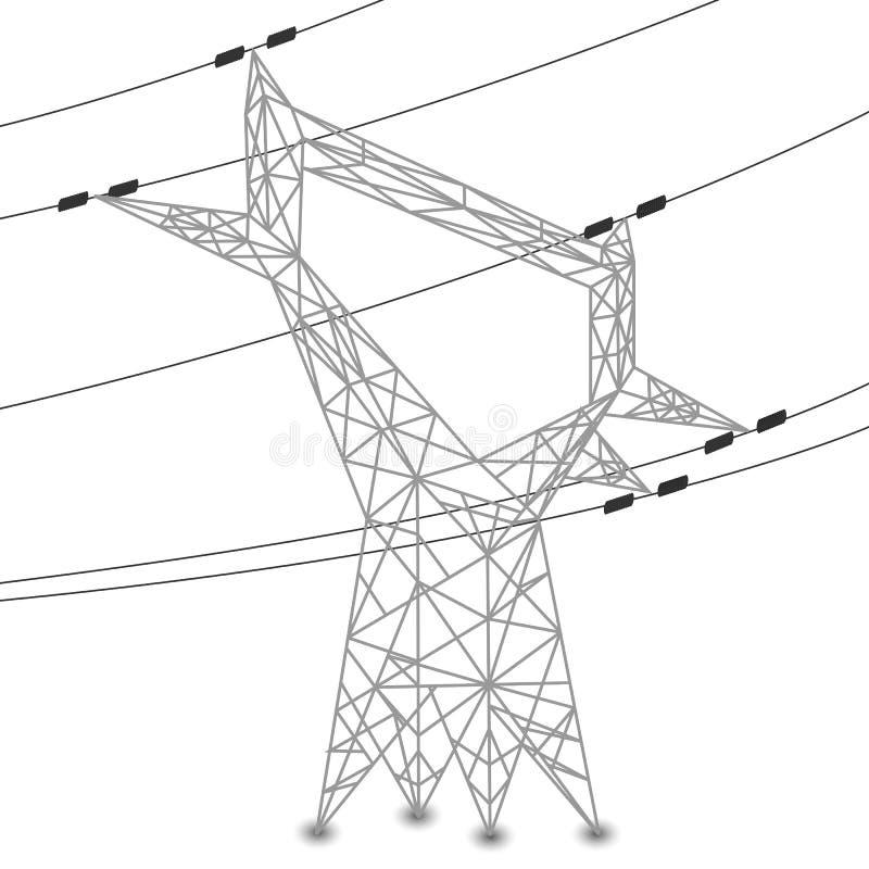 Silueta de líneas eléctricas y del pilón eléctrico ilustración del vector