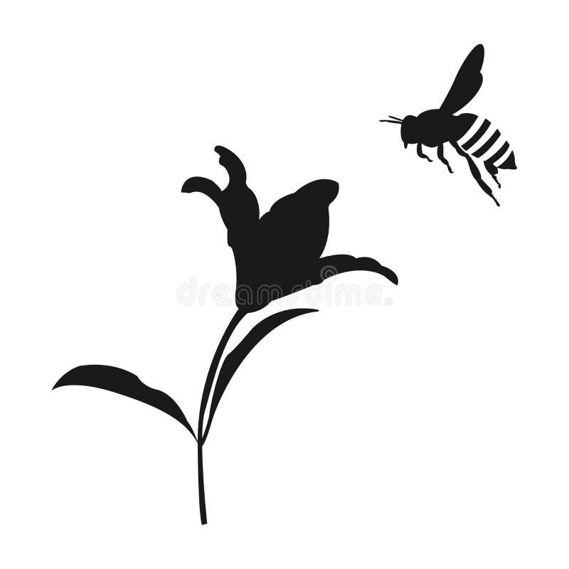 Silueta de la abeja de la miel del vuelo Abeja de la flor y de la miel Engrana el icono ilustración del vector
