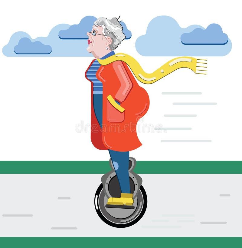 Silueta de la abuela Mujer mayor en la vespa Monowheel moderno de la tecnología del viejo uso progresivo de la mujer Vector moder