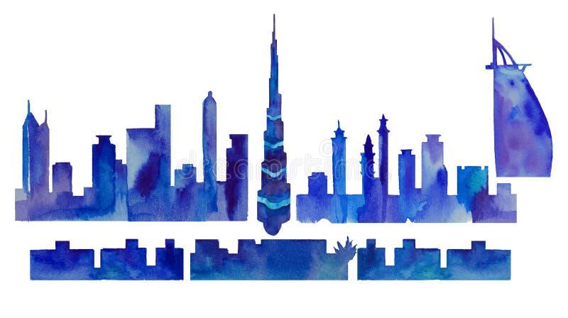 Silueta de la acuarela de Dubai ilustración del vector