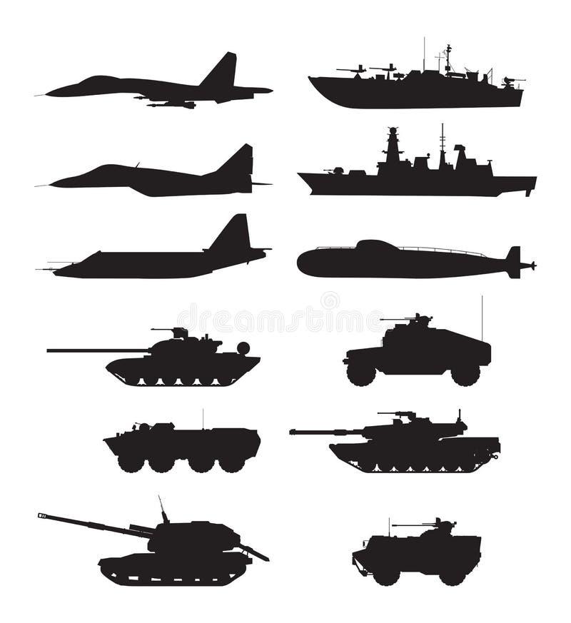 Silueta de la ayuda militar de las máquinas Fuerzas de los aviones Vehículos y buques de guerra de ejército ilustración del vector