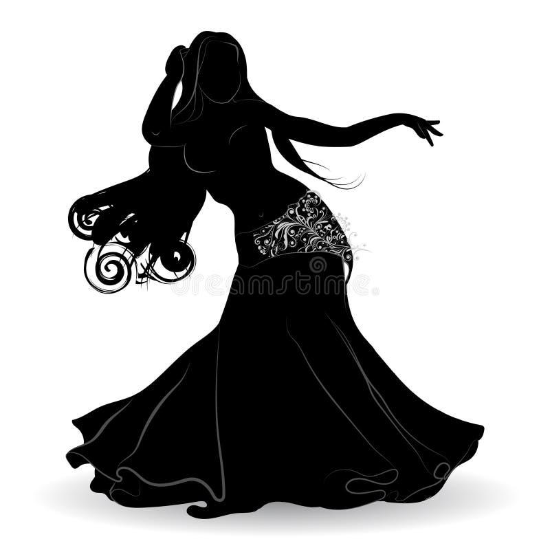 Silueta de la bailarina de la danza del vientre en el movimiento stock de ilustración