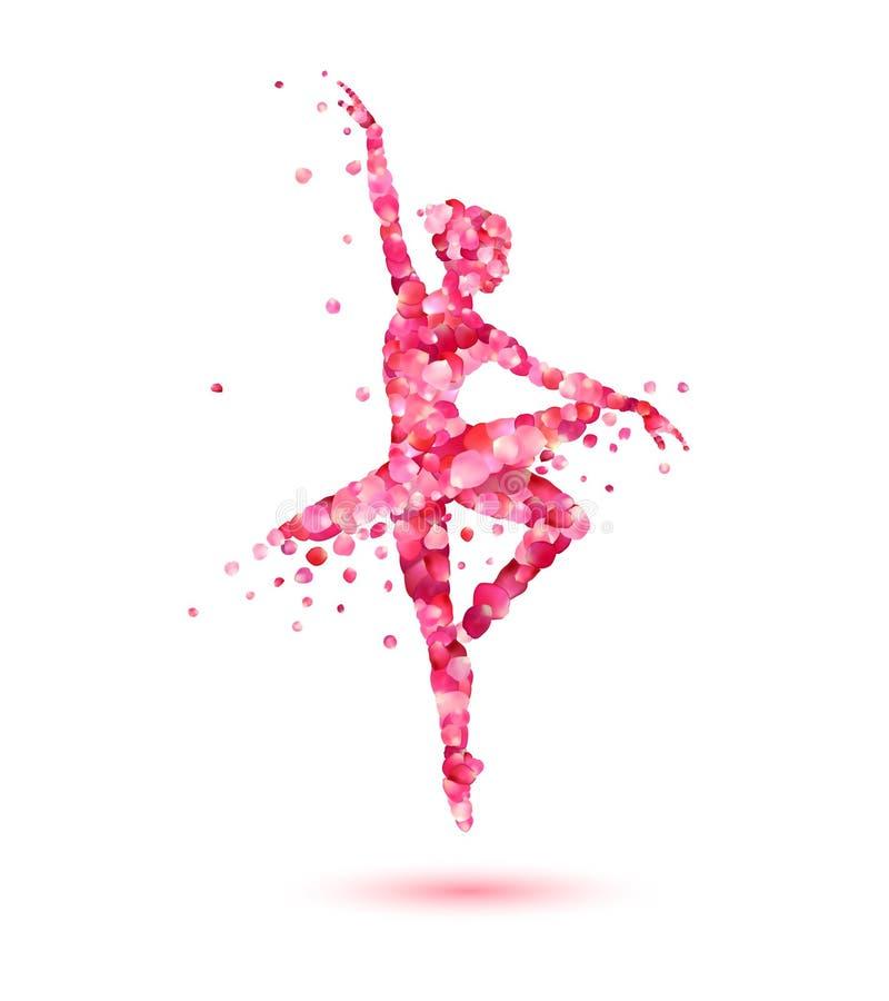 Silueta de la bailarina de pétalos color de rosa rosados ilustración del vector