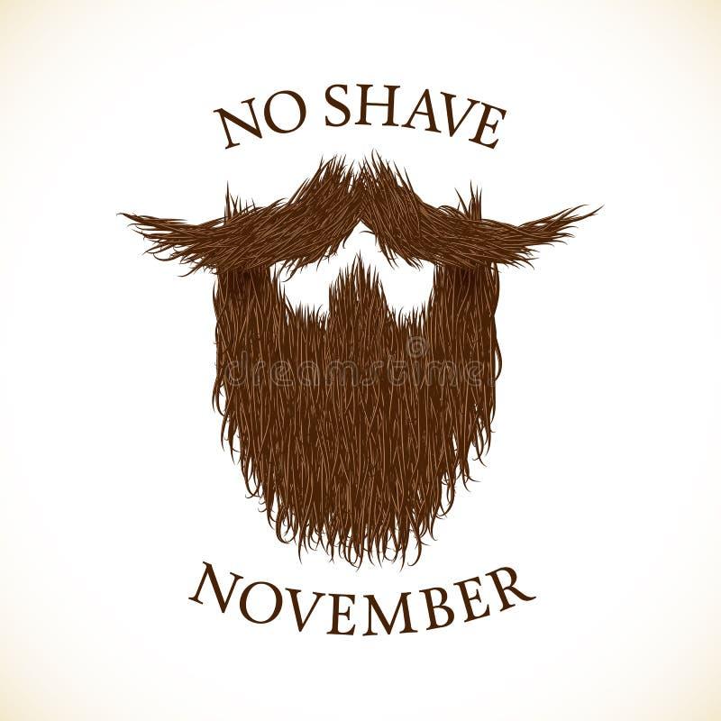 Silueta de la barba sin la impresión de las letras de noviembre del afeitado stock de ilustración