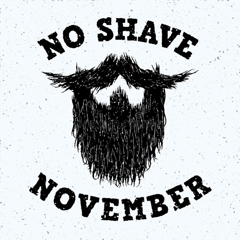 Silueta de la barba sin la impresión de las letras de noviembre del afeitado libre illustration