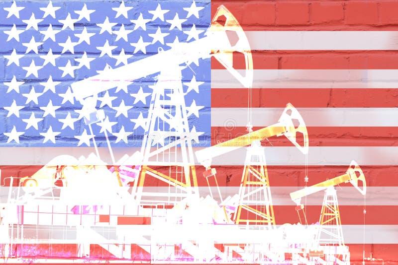 Silueta de la bomba de la perforación petrolífera en el fondo de la bandera de Estados Unidos libre illustration