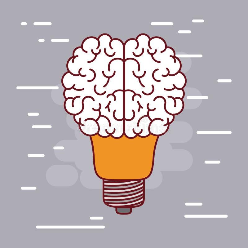 Silueta de la bombilla con forma del cerebro en el top con el fondo gris stock de ilustración