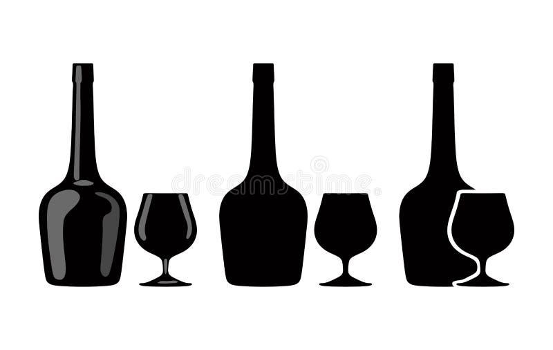 Silueta de la botella de coñac y de vidrio de brandy Vector ilustración del vector
