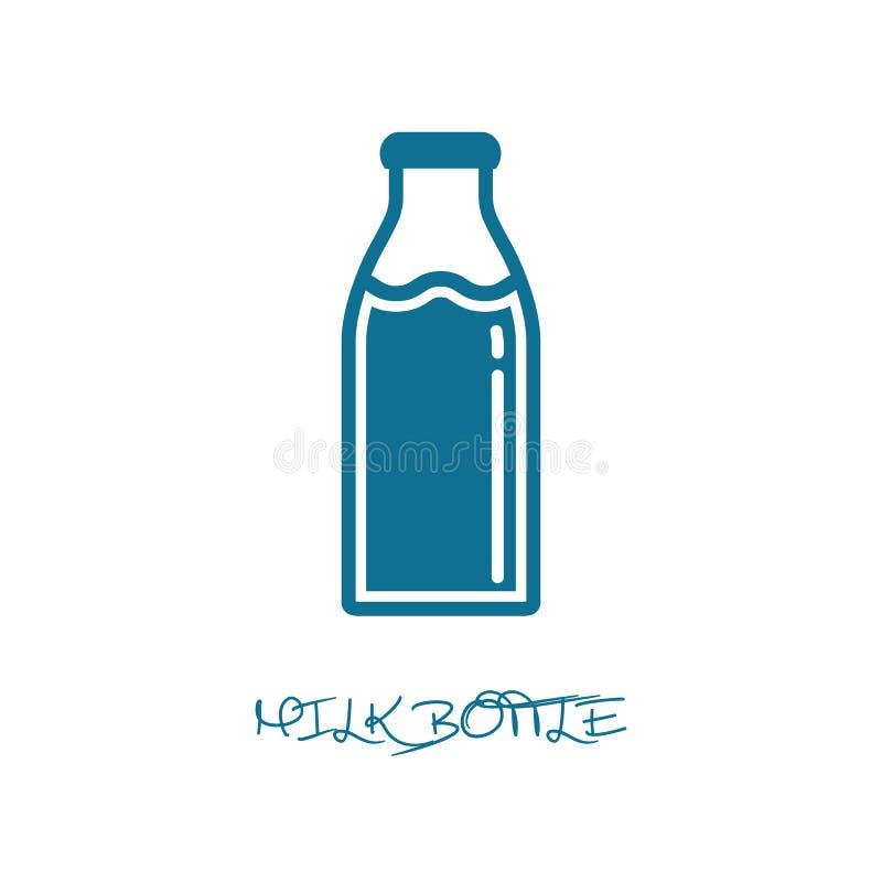 Silueta de la botella de leche - ejemplo azul del vector - aislada en el fondo blanco ilustración del vector