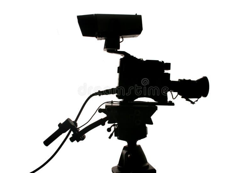 Silueta de la cámara de vídeo del estudio imágenes de archivo libres de regalías