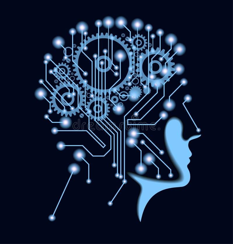 Silueta de la cabeza del ` s del hombre con la placa madre y los engranajes ilustración del vector